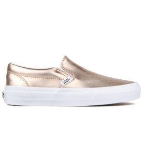 VANS Rose Gold Classic Slip On Shoe Metallic